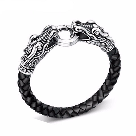 BRACELET - DRAGON TIBETAIN DOUBLE TETES CUIR NOIR