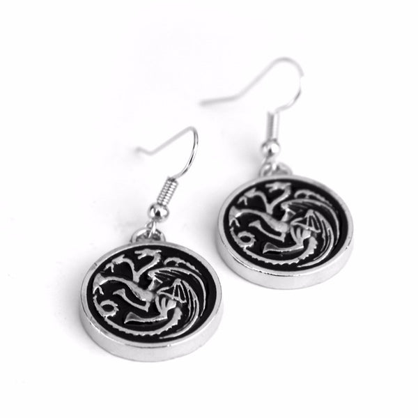 BOUCLES D'OREILLES - DRAGON TARGARYEN GAME OF THRONES SILVER PLATED