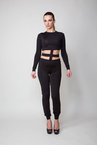 Ashley Black Long Sleeve Cut Out Jumpsuit