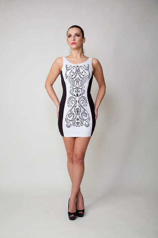 Carla White and Black Printed Party Dress