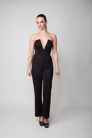 Caroline Deep V Cut Black Jumpsuit