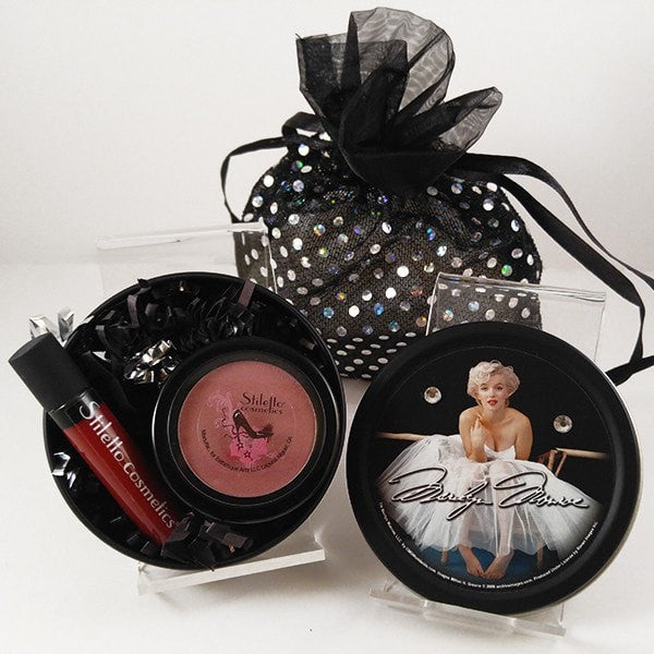 Marilyn Monroe Stash Tin with Bling bag (lip gloss and Bronzer/Blush)