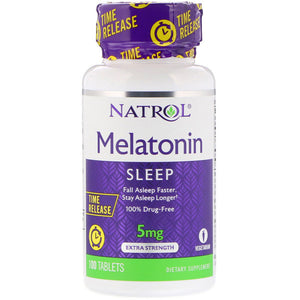 MELATONIN 5MG 100 TABLETAS - NATROL - TIME RELEASE