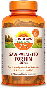 Saw Palmetto 450mg. 250  Caps Sundown Naturals