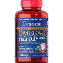 Triple Fuerza Omega-3 Fish Oil 1360 mg (950 mg Active Omega-3)-120 Softgels