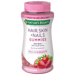 Hair, Skin & Nails con Biotin 2500 mcg 220 Gummies Nature´s Bounty