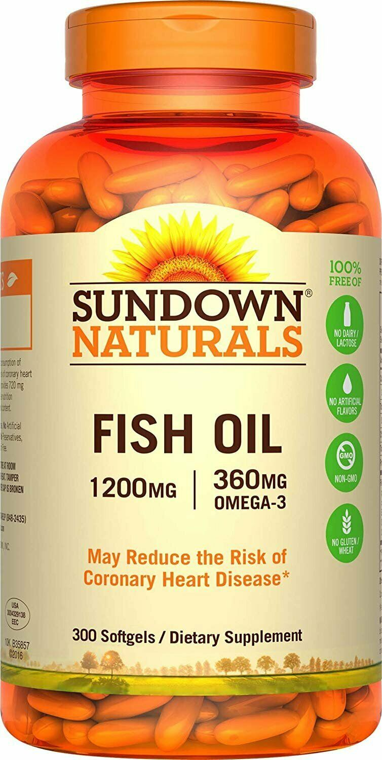 Fish Oil 1200mg Softgel 300 Capsulas - Sundown Naturals