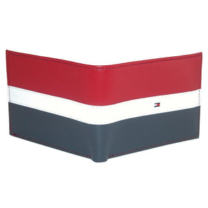 Billetera Tommy Hilfiger Men's Slim Leather Bifold - Diseno Bandera  Azul,Roja y Blanca