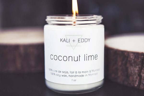 Coconut et lime, chandelle 100% cire de soja. Coconut lime ,100% soy candle.