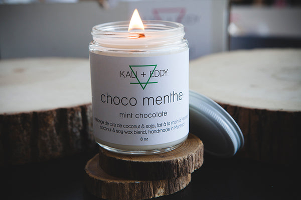 Choco menthe, chandelle 100% cire de soja. Mint chocolate, 100% soy candle