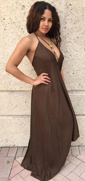 Brown Maxi Dress - FASHIONEVOLVER