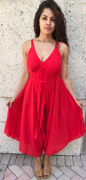 Cotton Romper Red - FASHIONEVOLVER