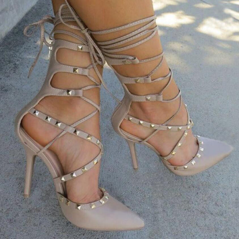 Miss Perfect Gladiator Stud Heels