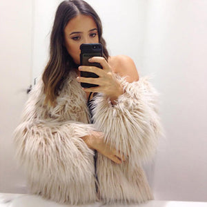 Faux Fur Cream Jacket / Coat