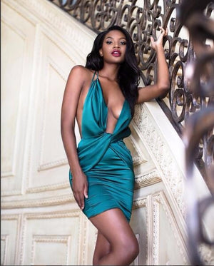 EXCELLENCE Wrapped Satin Mini Dress