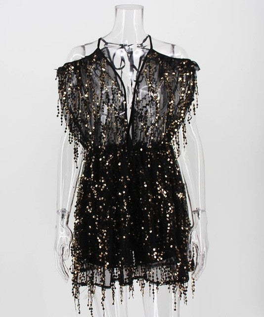 STAR Sequined Mini Jumpsuit