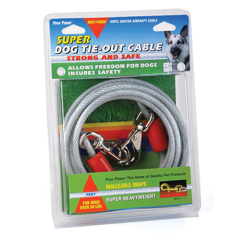 Four Paws Super Tie Out Cable Silver 15 Feet