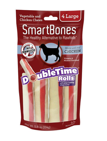 SmartBones Double Time Rolls Chicken Dog Chew Large, 4 pieces/pack