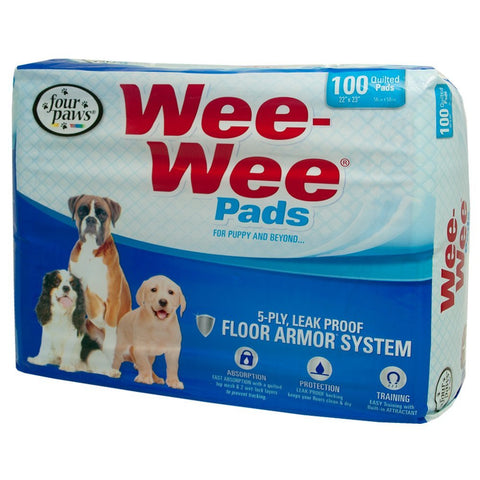 Four Paws Wee Wee Puppy Housebreaking Pads, 100 Pack