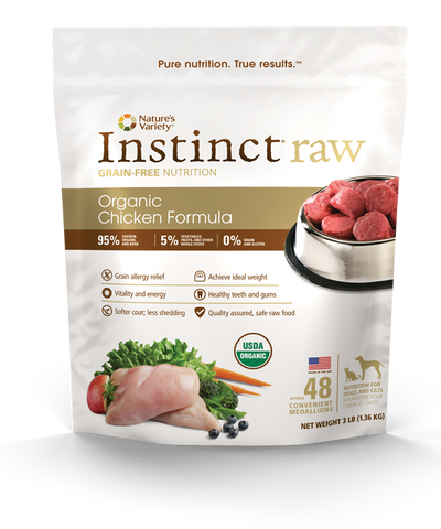 Nature's Variety Instinct Raw Chicken Bites Frozen Dog Food, 7 lbs.