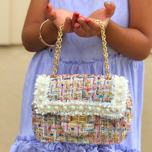 Tiny Treats pearl woven kids handbag