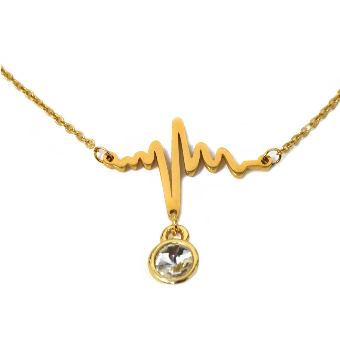 Heartbeat Birthstone Necklace (Gold)