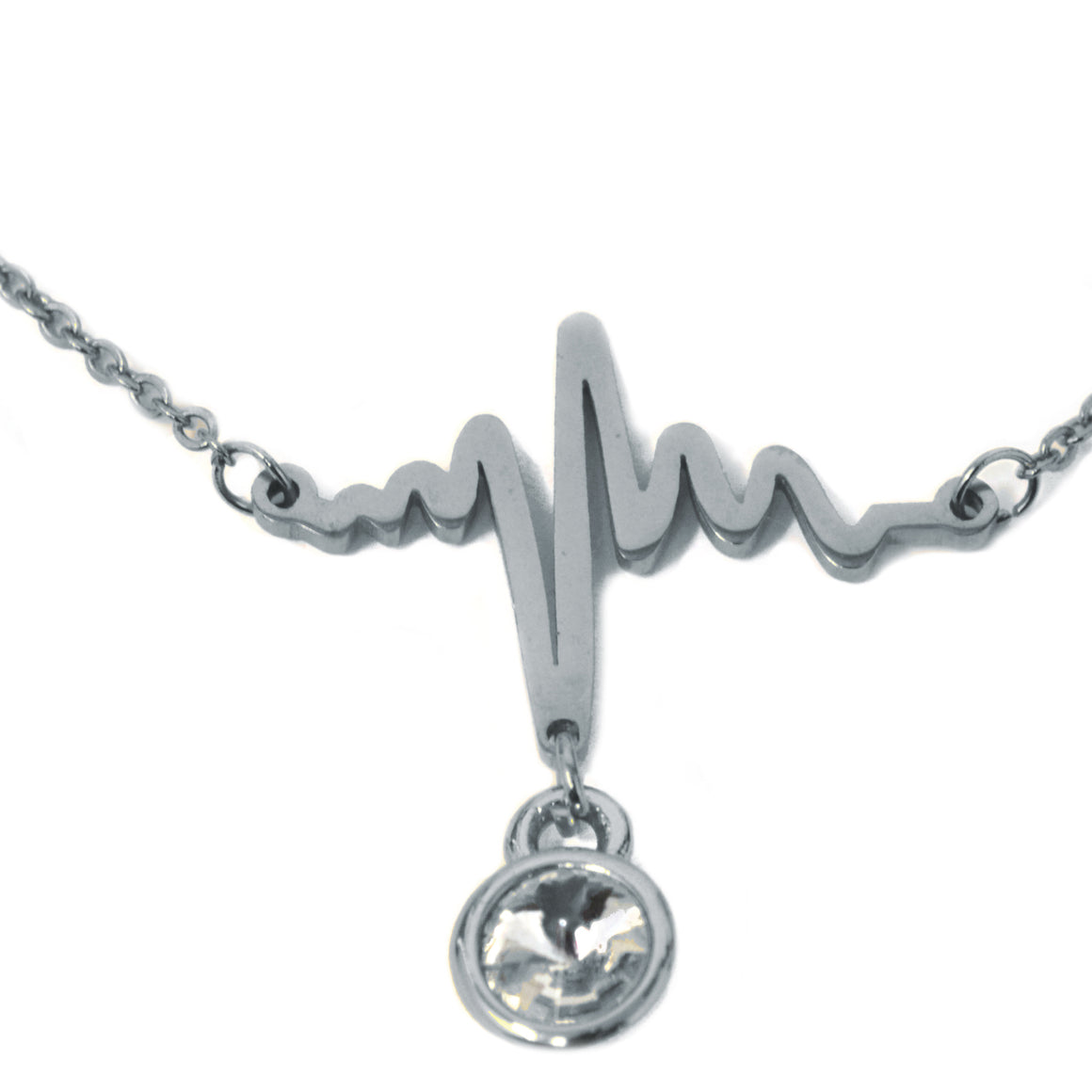 Heartbeat Birthstone Necklace (Silver)
