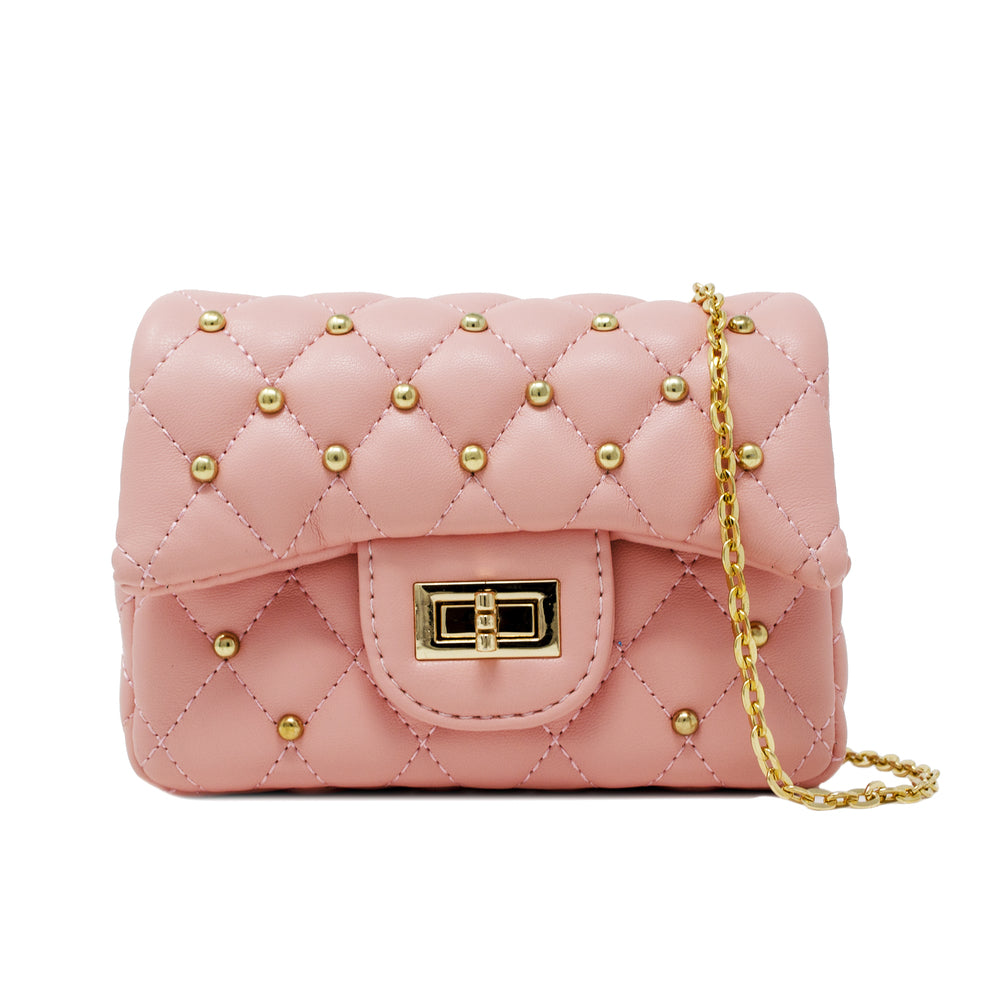 QUILTED GOLD STUD MINI BAG