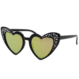 Black Crystal Heart Sunglasses