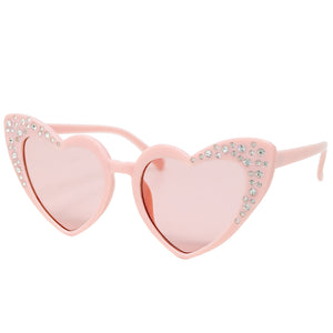 Pink Crystal Heart Sunglasses