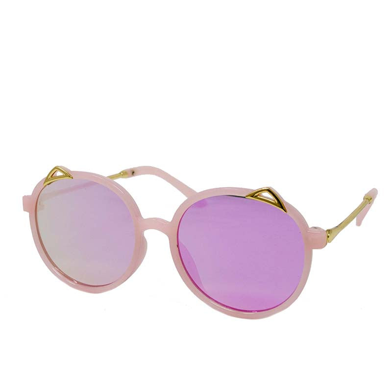 ROUND CAT EYES SUNGLASSES - PINK/GOLD