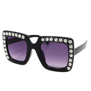 Square Crystal Sunglasses - Black