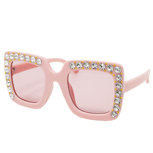 Square Crystal Sunglasses - Pink