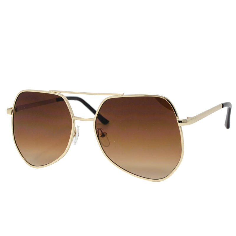Gold Slim Retro Sunglasses