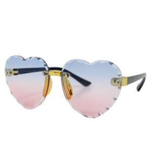 Frameless Heart Sunglasses - Pink/Blue
