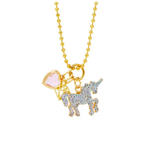 UNICORN, HEART & GEM NECKLACE