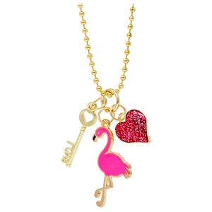 FLAMINGO, HEART & KEY NECKLACE