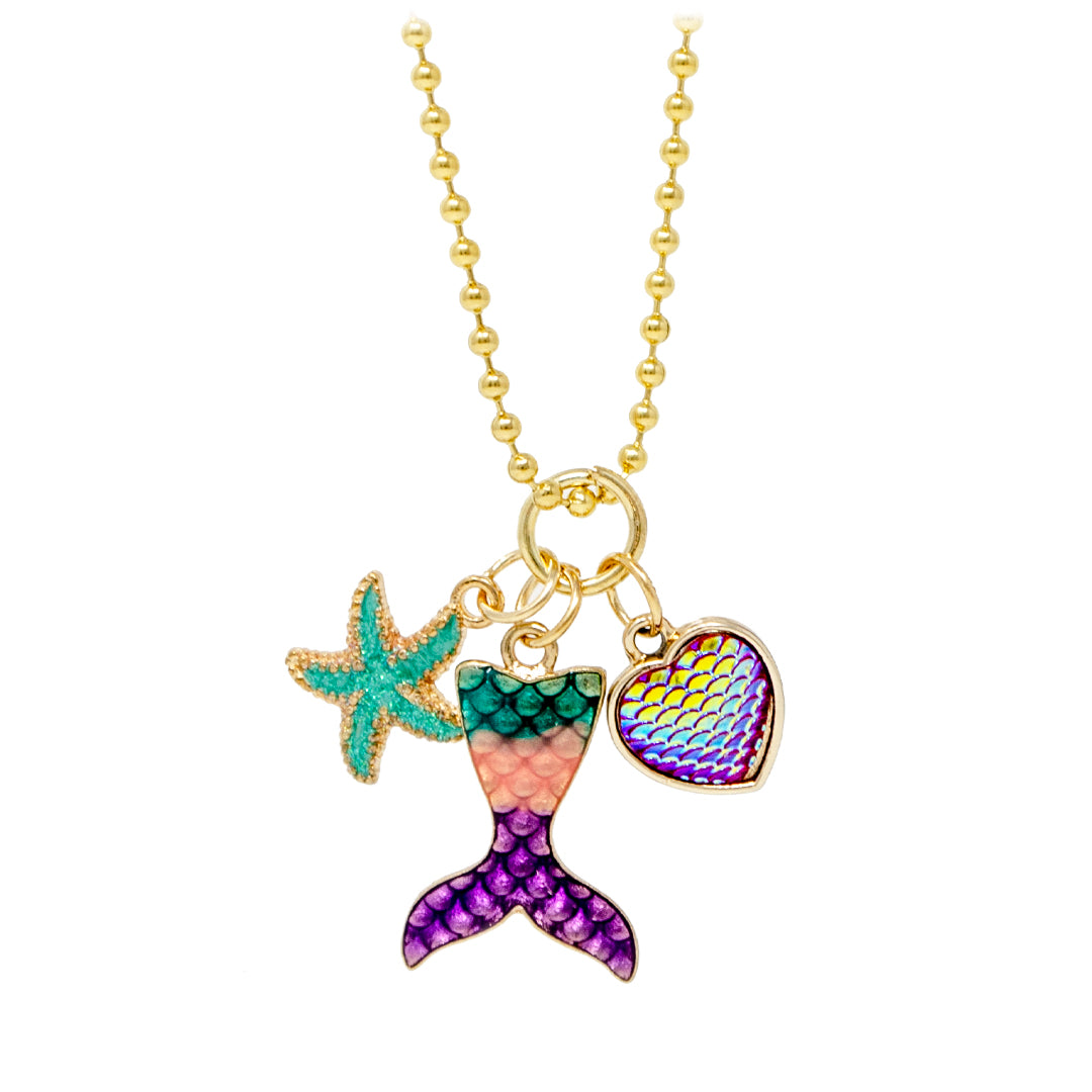 Mermaid Fin, Star, Heart Necklace