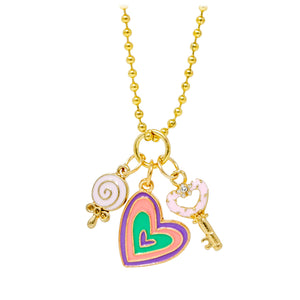 Heart, Lollipop & Key Necklace