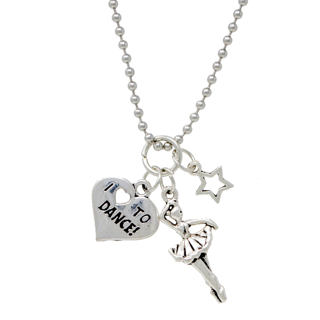 Ballerina, Love to Dance & Star Silver Necklace
