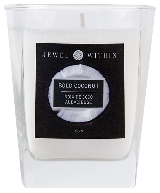 Bold Coconut hidden jewelry candle from Jewel Within. Rich roasted coconut charmed aroma.