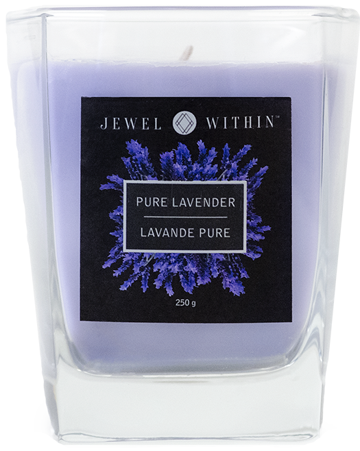 Pure Lavender hidden gems luxury jewelry candle in a pure lavender fragrance with the chance to win a prize valued at $1,000 to $6,000.