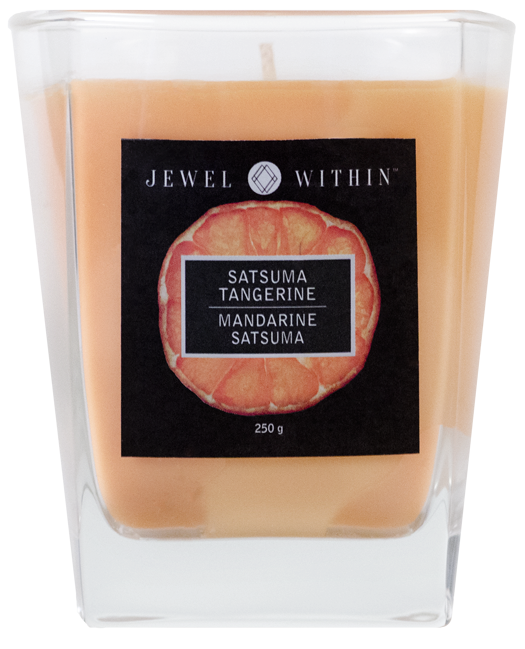 Satsuma Tangerine hidden jewelry candle from Jewel Within.  Tangy orange fragrance like orange sherbet!