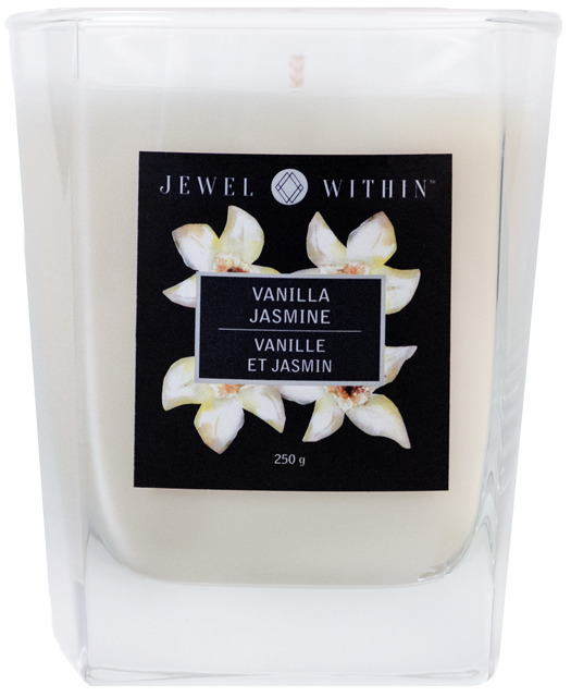 Vanilla Jasmine hidden jewelry candle from Jewel Within in a rich charmed aroma with a hint of jasmine