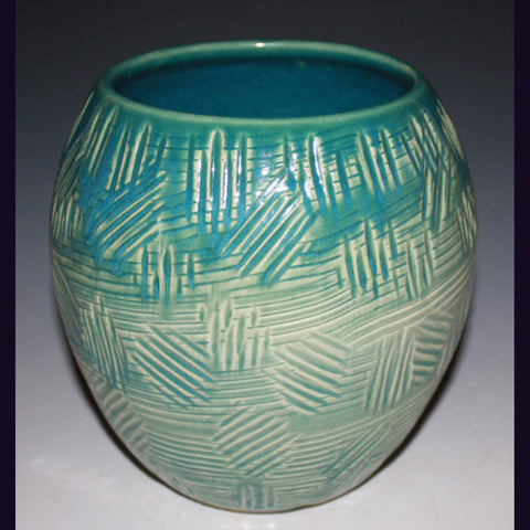 Vase in Turquoise, Hand Carved