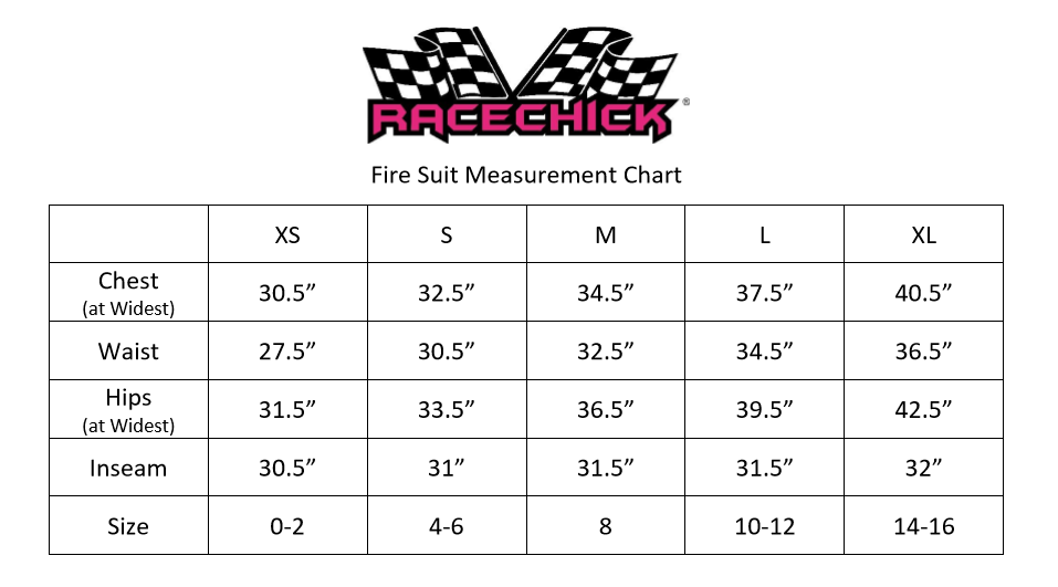 Womens Fire Suit Measurement Chart