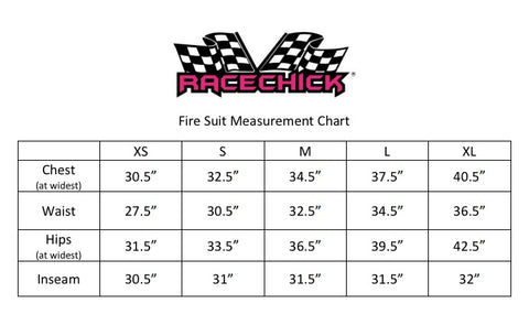 Racechick Women's Fire Suit Measurement Chart