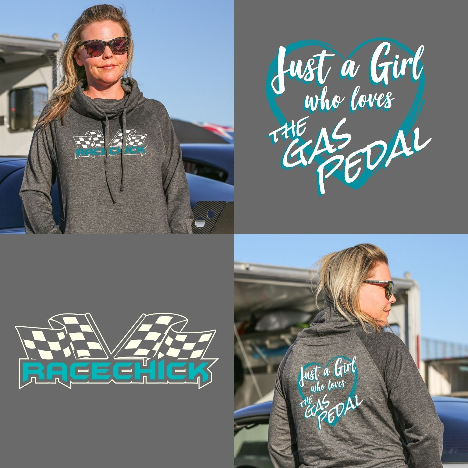 Just a Girl who Loves the Gas Pedal Fleece Funnel Neck Sweatshirt