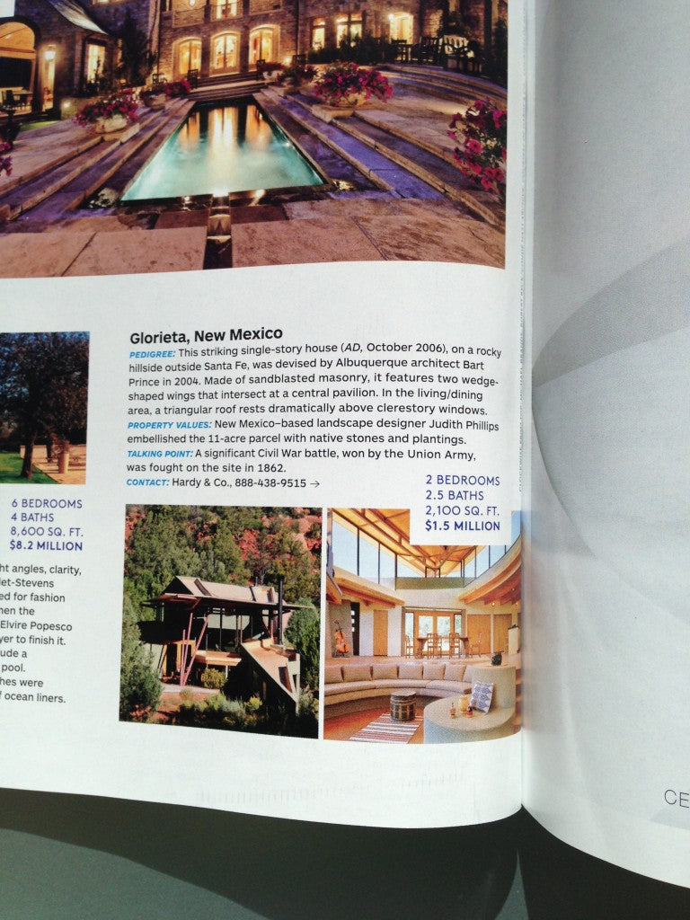 Bart Prince Glorieta House, is featured in the February 2013 issue of Architectural Digest