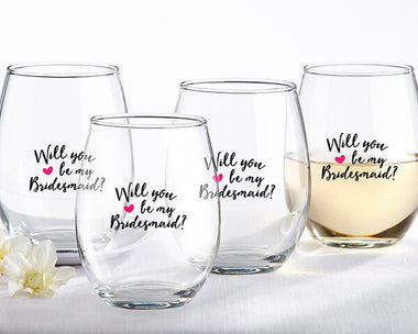 0ff5382900c Will You Be My Bridesmaid 15 oz. Stemless Wine Glasses - Set of 4 -